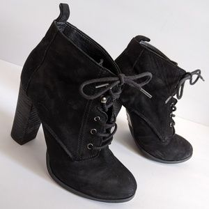 Black suede Aldo lace up booties size 6.5